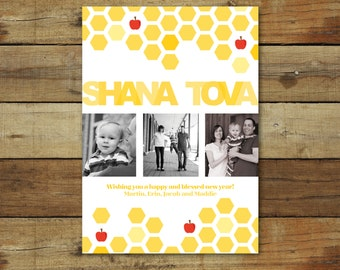 Honey and apples Rosh Hashanah photo card, shanah tovah, Rosh Hashanah honey card, Jewish new year card