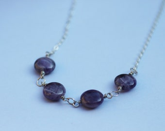 Four Stone Amethyst Necklace