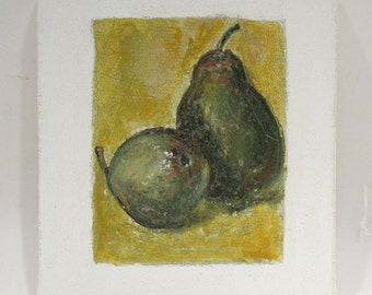Pear Art - Still Life - Original Mixed Media Painting - Gallery Wrapped Canvas Block - Green - Yellow - Wall Art - Home Decor - Kitchen Art