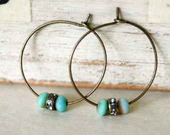 Ella. bohemian aqua beaded rhinestone hoop earrings. tiedupmemories