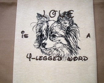 Love is a 4-legged word - Tea Towel - Dish Towel - Home Decor -Papillon Outline - Choose your Breed