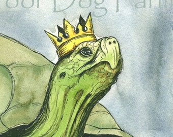 Tortoise King (an original  painted queen) 8 x 10