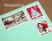 CHRISTMAS .. Let It Snow .. Vintage Unused U.S. Postage Stamps .. mail 5 Letters