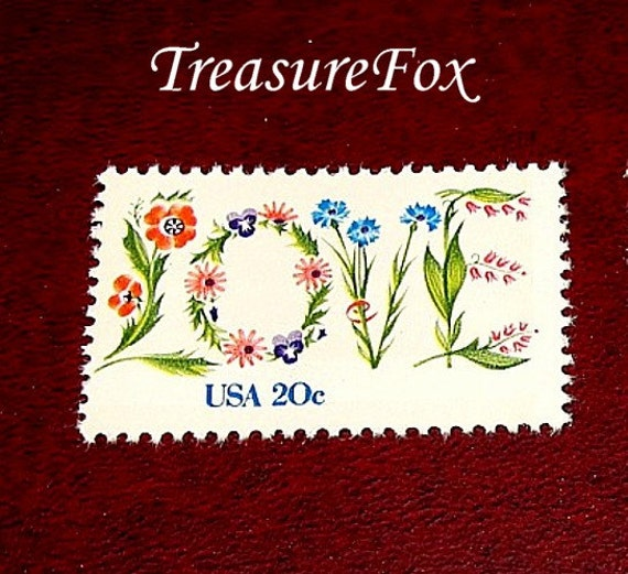 20c Floral LOVE Stamp ..  Set of 100 .. Unused Vintage Postage Stamps .. Wedding invitation postage, Save the Dates, RSVPs, Love postage