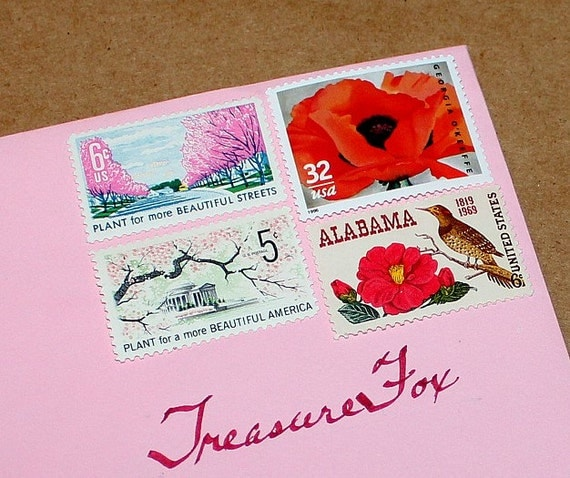 Floral Delight .. Unused Vintage Postage Stamps .. Enough to mail 10 letters