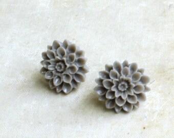 Gray Dahlia Stud Earrings, Studs Flower Post Earrings, Weddings, Mum Flower Earrings,  Grey,  Flower