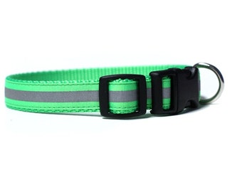 5/8 or 3/4 Inch Wide Dog Collar with Adjustable Buckle or Martingale in Neon Green Reflective