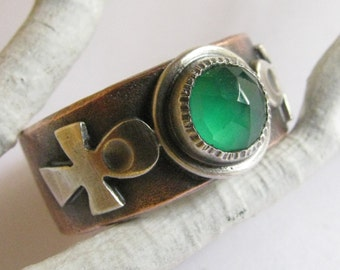 Ankh Ring, Silver And Copper Ring, Green Onyx Ring, Mixed Metal Ring, Chalcedony Ring, Metalsmith Jewelry, Size 9 Egyptian Mythology Ring