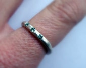 Rough sterling silver band with three genuine flush set green sapphires- womens sapphire ring-size 7 ready to ship