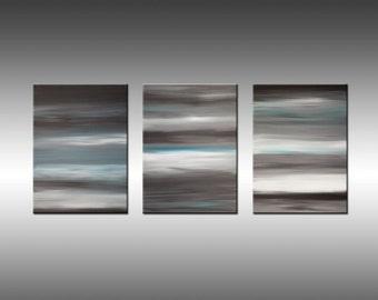Sunrise 7 - Art Painting Large Triptych Original Abstract Paintings Original Painting Canvas Art Gray Blue White Modern Art Contemporary