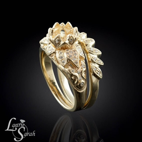Lotus Blossom Engagement Ring