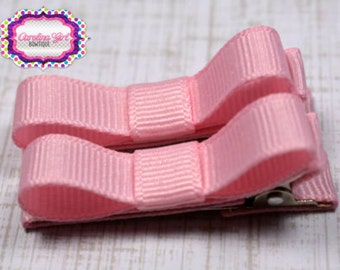 Pink Hair Clips Basic Tuxedo Clips Alligator Non Slip Barrettes for Babies Toddler Girl Set of 2