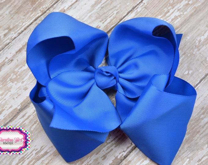6 in. Royal Blue Boutique Hair Bow - XL Hair Bow - Big Hair Bows - Girl Hair Bows