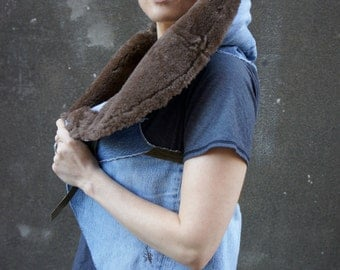 SAMPLE////Raw Hem Denim and Leather Batwing Vest/Cape with Shearling Collar