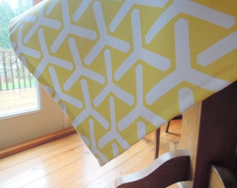 Trident Yellow Tablecloth, Organic Cotton, Square, Spring Table Linens, 43x43