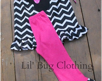 Custom Boutique Clothing Minnie Mouse Pink Black White Chevron Pant And Top Outfit