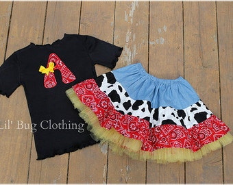 Custom Western Wear Outfit-Jessie Toy Story Skirt Tee Outfit- Birthday Tiered Western Outfit- sizes Sizes 12m 18m 2T 3T 4T 5T 6 7 Girl