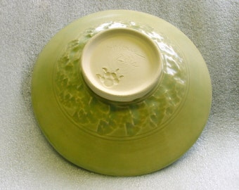 Wheel Thrown Pottery Shallow Bowl or Deep Plate in a Muted Pistachio Green with Textured Exterior