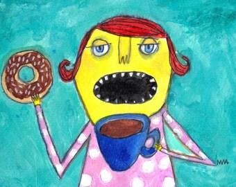 Breakfast of Champions - original mixed media painting by Murphy Adams