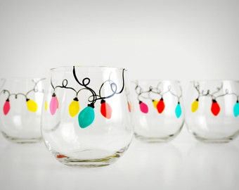Retro Christmas Lights Stemless Wine Glasses - Set of 6 Hand-Painted Stemless Glasses, Retro Christmas Lights