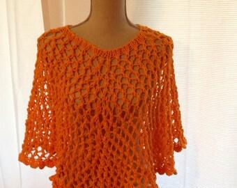 Cotton  Poncho, Hand Knit in Bright Orange Yarn