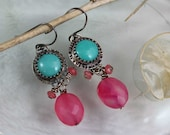 Turquoise and Hot Pink Stones and Cabochon metal work Earrings