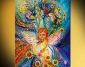 Little Fairy Caren: Original wall art interior design giclee canvas print Home Living fairy composition Wall Decor Housewares Wall hangings