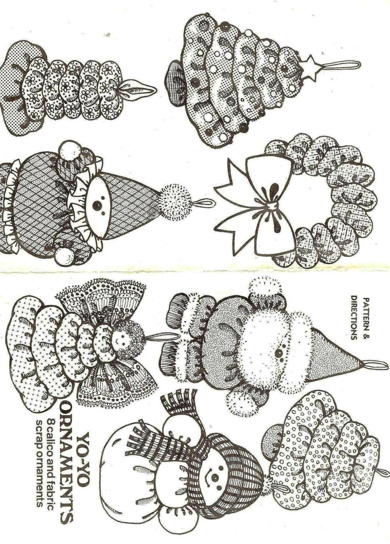 Vintage yo yo holiday christmas tree decoration ornaments for Yo yo patterns crafts