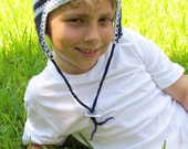 Reserved for a Fashion Outlaws:Kid's crochet hat. Fiber arts. A Kid's Merino in Navy and Light Blue
