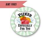 Picked With Love - Any Use - Jam or Jelly Labels - Circles / DIGITAL FILE