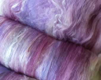 Art batt 4 oz. merino wool alpaca silk hand dyed PARISIAN LILAC buy 3 get 1 free