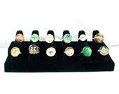 Black Velvet Ring Holder - Jewelry Display - used