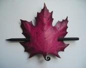 Leather Maple barrette