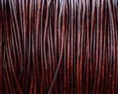 1mm Natural Antique Brown Round Leather Cording - 2 Yards