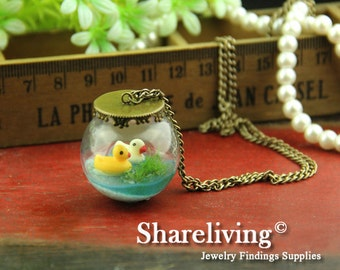 1 set  Handmade 30mm Clear Glass Globe Bottle Necklace With Two Ducks Swimming HC160A