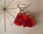 ruby red glass nugets with silver plated wire,  vintage depression glass earrings, red seaglass inspired