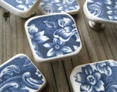 Drawer knob pull, handmade from broken tumbled vintage china, blue and white floral transferware home decor ideas.