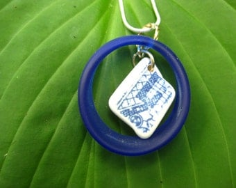seaglass inspired pendant Mixed media, blur glass oval hoop with broken blue and white china