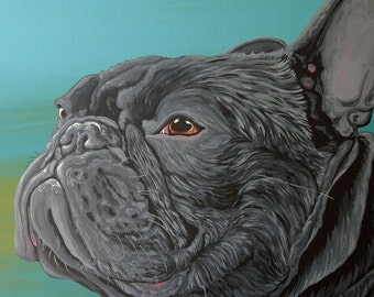 Black French Bulldog Original Dog Art Canvas Painting 16 x 16 -Carla Smale