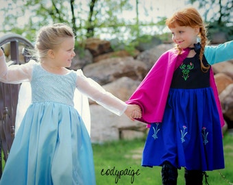 Frozen Inspired Ice Queen Elsa and Snow Princess Anna Costume Gowns!
