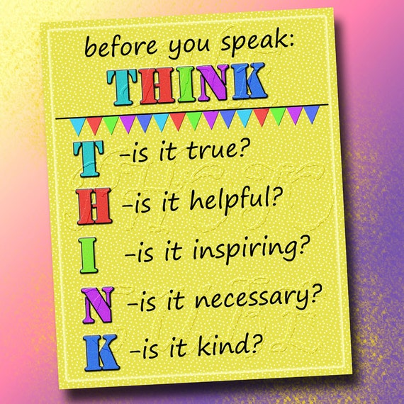 Before You Speak THINK- Wall Art Decor- Class Room, Nursery, Home ...