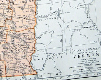 Map of Vermont - US State Map - 1936 Vintage Map from World Atlas 11 x 14