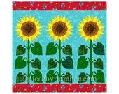 Sunflower quilt block pattern, paper pieced quilt patterns, instant download PDF, flower quilt patterns, flower patterns, sunflower pattern