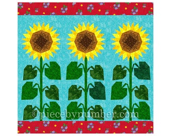 Sunflower quilt block pattern, paper pieced quilt patterns, instant download PDF, flower quilt patterns, flower patterns, sunflower pattern