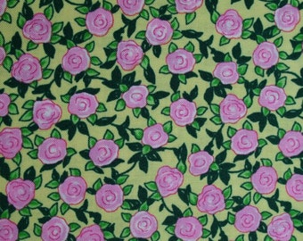 Retro Little Pink Roses on Yellow Blue Hill Aunt Lindy's Paper Dolls b7174-9 by the Yard