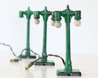 Vintage Green Lamp Posts - Model Train Lights, Set of 3