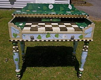 SOLD Hand Painted Desk Table with Black and White Checks, Morning Glories and a Goldfinch