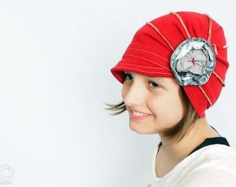 Woman hat, Red hat with flower, Soft women hat, Cozy hat, Fashion hat, Hats for woman, fashion women  accessories, birthday gift, beanie