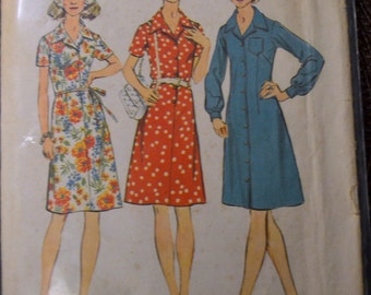 Vintage 70s Sewing Pattern Simplicity 5579 Misses' Button Front Dress Bust 41 Inches Complete