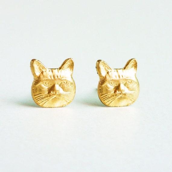 brass gold cat stud earrings 925 sterling by allcraftsharing